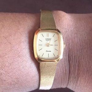 Vintage Citizen Seven Quartz Gold Watch 5 Band